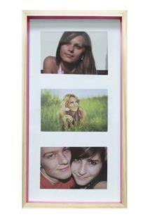 Painel Fotográfico Retangular Para Fotos Kapos I Love You Em Madeira 22 X 32 Cm - Natural