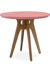 Mesa 4 Cadeiras Redonda Bianchi 90X77Cm Jatobá E Rosa Coral