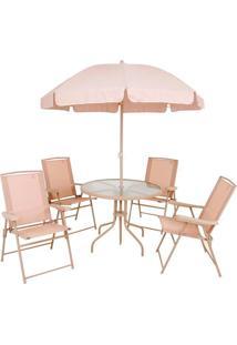 Conjunto Mor Malibu Mesa + 4 Cadeiras E Guarda-Sol, Bege