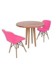 Conjunto Mesa De Jantar Em Madeira 90Cm Com Base Vértice + 2 Cadeiras Slim - Rosa