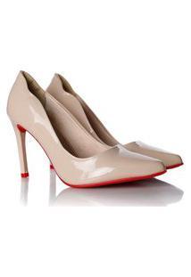 Sapato Scarpin Camila Verniz Com Sola Vermellha Nude