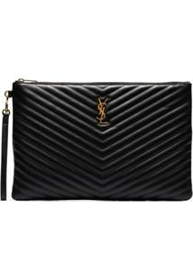 Saint Laurent Black Large Monogram Leather Document Holder - Preto