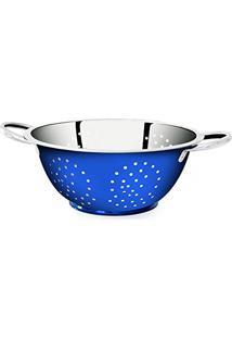 Escorredor De Massa 24Cm Inox/Azul - Gourmet Mix