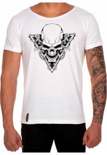 Camiseta Lucas Lunny T Shirt Gola Canoa Estampada Caveira Triangulo