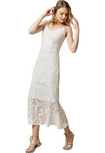 Vestido Mx Fashion Midi De Renda Alef Off White