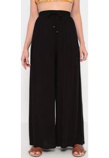 Calça Pantalona Com Recortes Sobrepostos - Preta - Lla Concha