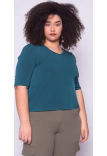 Blusa Almaria Plus Size Ela Linda Básica Verde