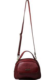 Bolsa Em Couro Recuo Fashion Bag Transversal Vinho