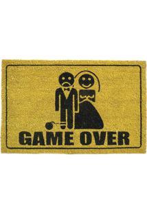 Capacho Game Over- Amarelo Escuro & Preto- 70X40Cm