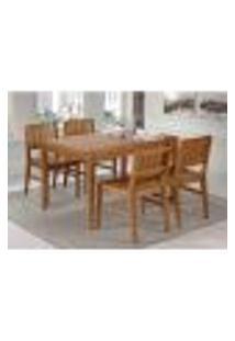 Conjunto Mesa De Jantar Angra 120 Cm Com 4 Cadeiras - Mel