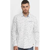 0404ecef2 Camisa Colcci Manga Longa Estampada Masculina - Masculino-Branco+Preto