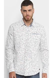 Camisa Colcci Manga Longa Estampada Masculina - Masculino-Branco+Preto