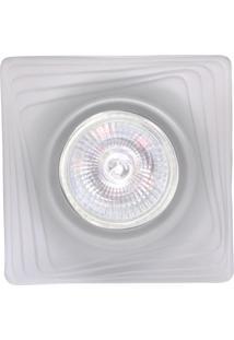 Spot Dicróica Fixo Vidro Quadrado Mr16 50W 220V Branco