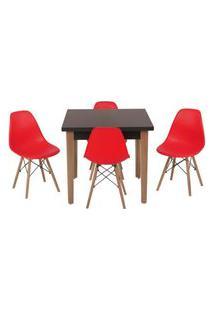 Conjunto Mesa De Jantar Luiza 80Cm Preta Com 4 Cadeiras Eames Eiffel - Vermelho