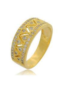 Anel Triângulos Com Mini Zircônias Cravejadas 3Rs Semijoias Dourado