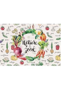 "Tapete ""Nature Food""- Branco & Verde- 60X40Cm- Ttapetes Junior"