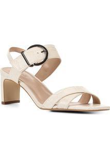 Sandália Couro Shoestock Croco Fivela Feminina - Feminino-Off White