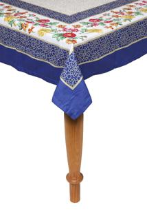 Toalha De Mesa Kacyumara Casa K Olímpia 150X150Cm Branca/Azul