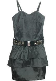 Vestido Tafeta Fashion C/Cinto - Feminino-Cinza