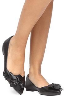 Sapatilha Couro Shoestock Flores Feminina - Feminino