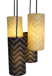 Luminária Pendente 4 Cúpulas Crie Casa Chevron Preto E Dourado