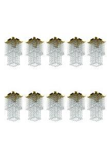 Kit 10 Lustre Plafon De Cristal Acrilico Spark Dourado