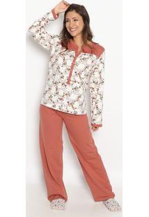 Pijama Manga Longa Com Abertura & Calã§A- Ros㪠& Brancosonhart