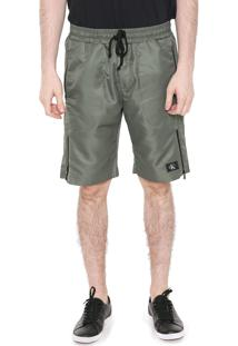 Bermuda Calvin Klein Jeans Reta Listra Zíper Verde