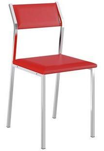 Cadeira Carraro 1709 Aço Cromada (2 Unidades) Cromada/Vermelho