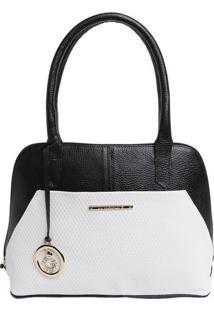 Bolsa Em Couro Croco Com Bag Charm- Preta & Branca- Di Marlys