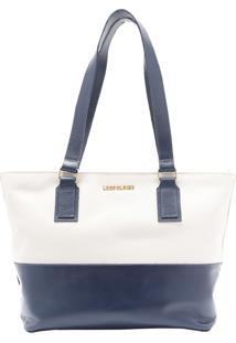 Bolsa Em Couro Azul Com Branco Leopoldine Lauany