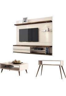 Painel Tv Épic Com Mesa De Centro Lucy E Aparador Quad Off White/Deck - Hb Móveis