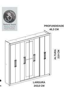 Guarda-Roupa 8 Portas Carraro Hester 1096 Native Se
