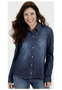 c37921db9f ... Camisa Feminina Jeans Vazado Manga Longa Gups