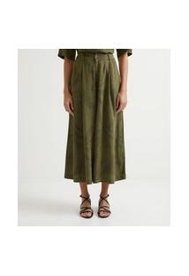 Calça Pantacourt Em Viscolinho Com Estampa De Folhagem | Marfinno | Verde Escuro | M