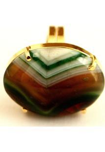 Anel Ajustável Ovalado Pedra Agata Verde Twik