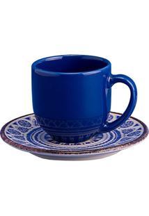 Xícara De Café Com Pires Em Cerâmica Navajo Azul