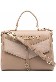 Love Moschino Bolsa Tiracolo Com Logo Texturizado - Neutro