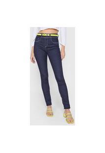 Calça Jeans Lunender Skinny Pespontos Azul-Marinho