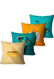 Kit 4 Capas Para Almofadas Decorativas Brinquedos 35X35Cm - Multicolorido - Dafiti