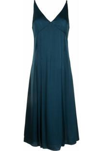 Paul Smith Vestido Midi Com Recorte De Cetim - Azul