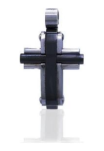 Pingente Em Aço Crucifixo Carbonado