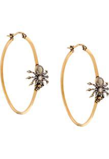 Alexander Mcqueen Skull Spider Hoop Earrings - Dourado