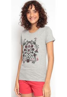 Blusa Floral Com Bordadoscinza & Pretahering