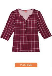 Blusa Bordô Quadriculada Com Botões