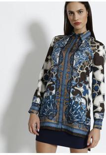 4caf832439 ... Camisa Arabescos Em Seda - Azul   Marromversace Collection
