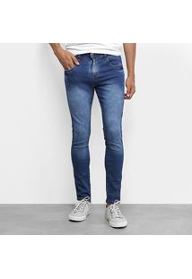 Calça Jeans Skinny Tbt Jeans Estonada Masculina - Masculino-Azul