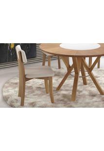 Cadeira Para Cozinha Boni Estofada - Verniz Amendoa - Tec.156B Off White - 42X49X82 Cm