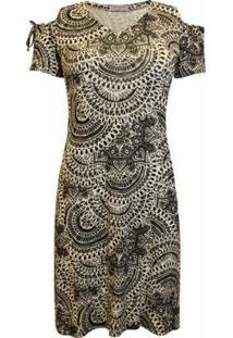 Vestido Pau A Pique Estampado Curto Feminino - Feminino-Preto