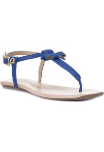 Sandália Rasteira Em Couro Com Laço- Azul Escurocarmen Steffens